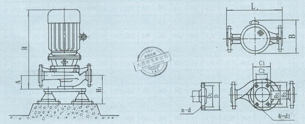 ISG型系列单级单吸管道离心泵外形及安装图说明