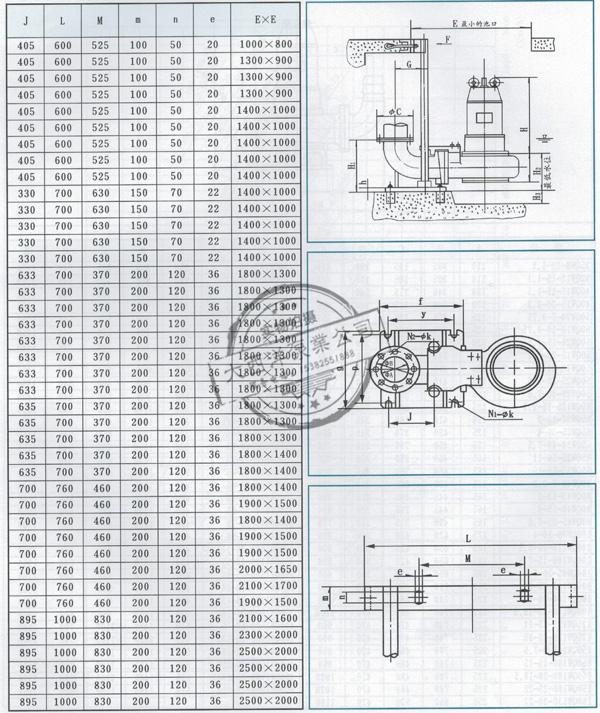 大西洋泵业的WQ型无堵塞潜水排污泵安装尺寸表