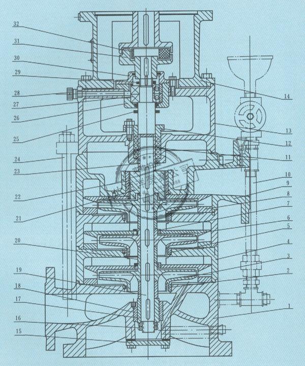 大西洋泵业LG型高层建筑给水泵结构图
