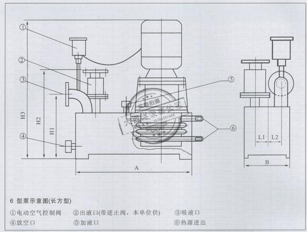 6 型泵示意图(长方型)