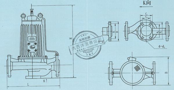 大西洋泵业PBG型屏蔽式管道泵外形及安装尺寸图