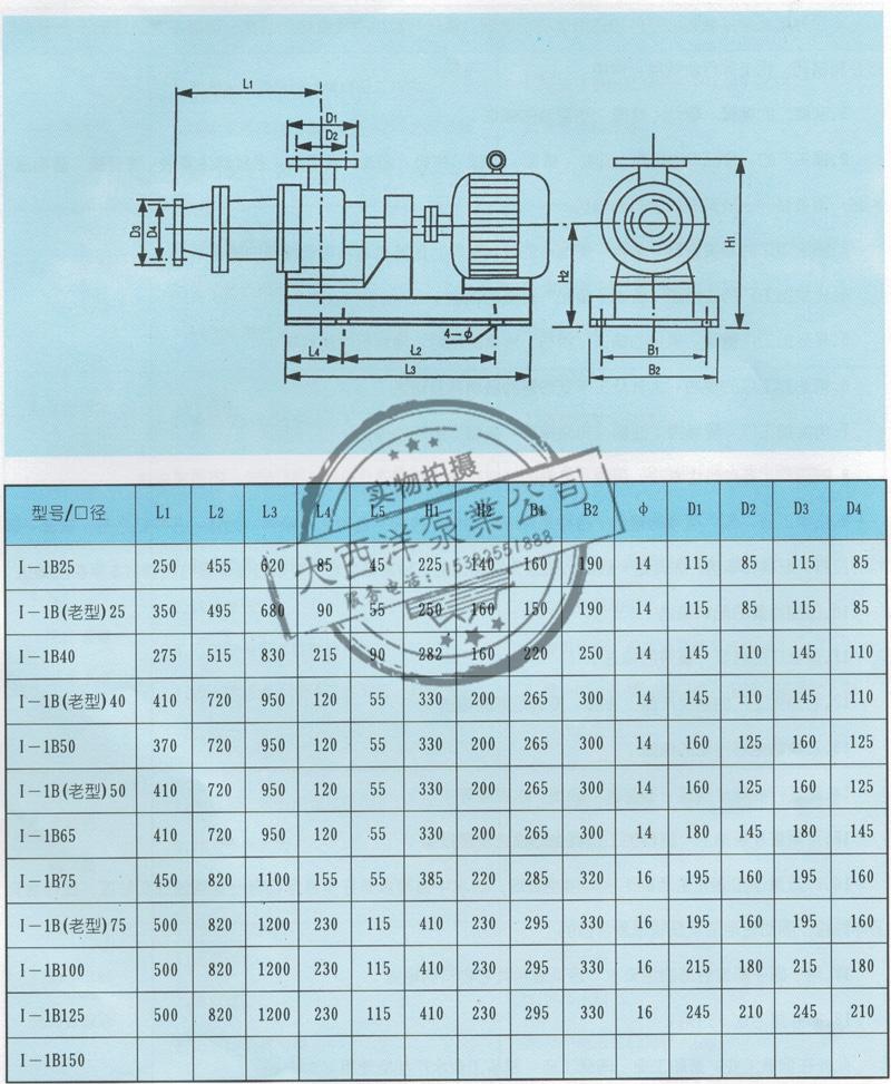 大西洋泵业I-1B型浓浆泵螺杆泵安装尺寸图